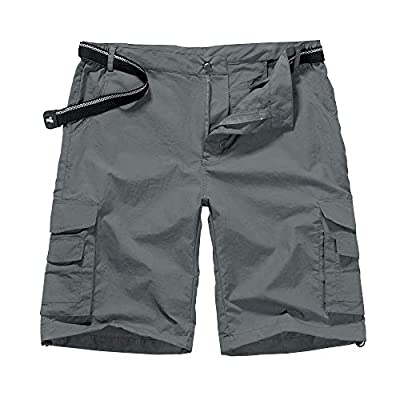 Men's Outdoor Casual Expandable Waist Lightweight Water Resistant Quick Dry Cargo Fishing Hiking Shorts (6013 Grey 34)