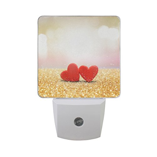 Naanle Set of 2 Red Heart On Gold Glitter Fuzzy Background Romantic Love Valentines Day Auto Sensor LED Dusk to Dawn Night Light Plug in Indoor for Adults