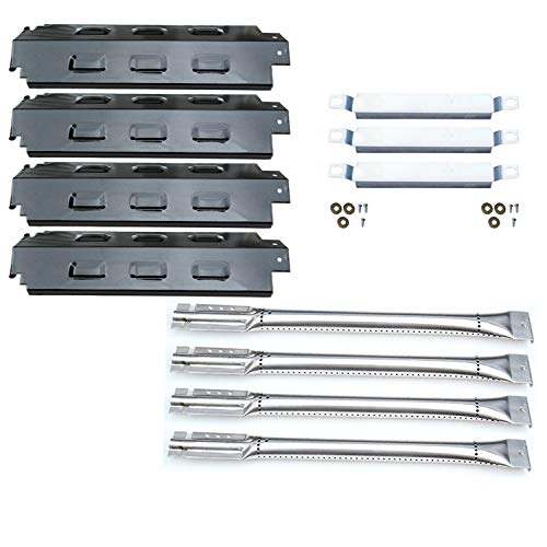 Direct store Parts Kit DG156 Replacement for Charbroil 463420507,463420509,463460708,463460710 Gas Grill Burners, Carryover Tubes,Heat Plates (SS Burner+SS Carry-over tubes+Porcelain Steel Heat Plate)