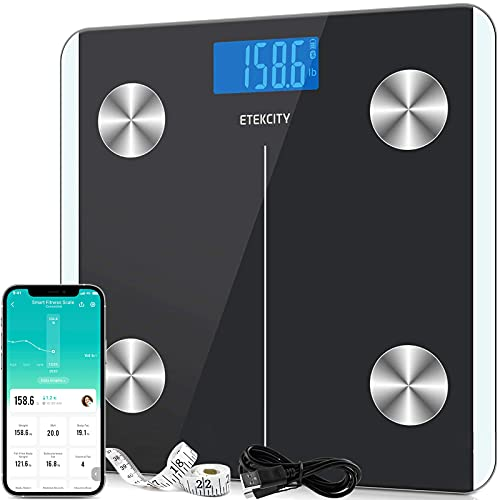 Etekcity Digital Body Weight Scale, Smart Bluetooth Rechargeable Body Fat Analyzer Tracks 13 Key Compositions, 400 lbs