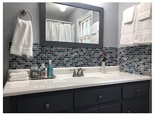 Ocean Teal Blue Glass Nature Stone Tile Kitchen Backsplash 3d Bath Shower Accent Wall Decor Gray Wave Marble 1 X 2 Subway Art Mosaics Tstnb03 11 Pcs 11 8 X 11 8 Each Buy Online