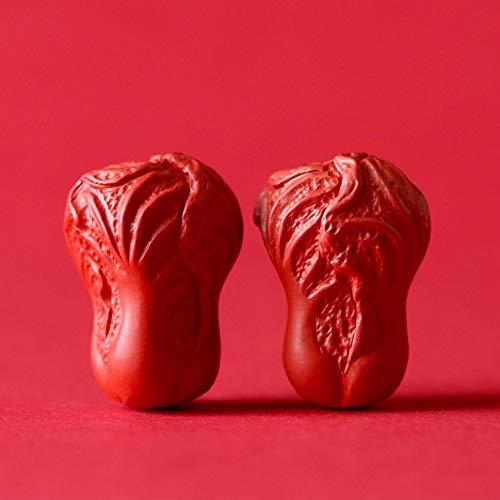 GZMUS 2 Unids Set Red Cinnabar Talla Colega Suelta Perlas Oración Lucky Charms Bead Chinese Feng Shui Pulsera para Buda Mala DIY Joyas Semiacabadas Hacer Accesorios Collares,22 * 16mm