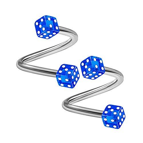 2PCS Stainless Steel Spiral Barbell 16 Gauge 5/16 8mm 3mm Dark Blue Dice Lobe Labret Earrings Cartilage Piercing Jewelry 1765