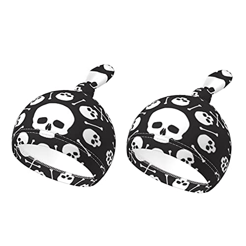 Gorro de bebé con diseño de calavera, diseño de huesos de flores, cómodo, para bebés de 0 a 6 meses, color negro