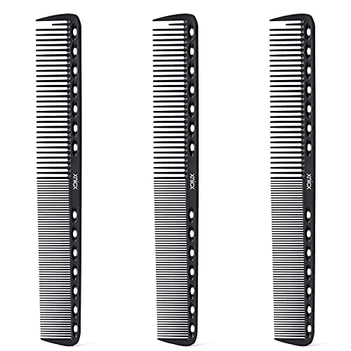 xnicx Cutting Combs Carbon Combs Barber Comb 230℃ Heat Resistant Anti-static Fine Cutting Grip Comb Hairdressing Comb Master Barber Comb