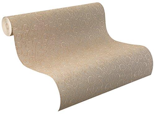 Rasch Tapeten Rasch Vinyl-Tapete auf Papier, textile Struktur mit Ranken in braun und goldenem Grund, Palace 2018, 516524