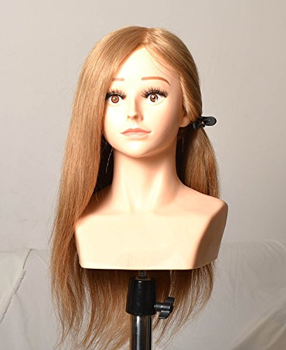 Cris nails® Peluquería 22 pulgadas 100% del pelo humano de Formación del hombro del maniquí Cabeza