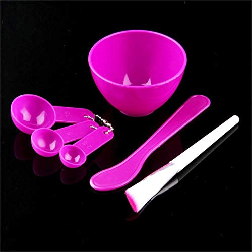 Dailyinshop 1 Pcs 4 en 1 DIY En Plastique Souple Maquillage Masque Facial Mélange Bol Brosse Cuillère Brosse Bâton Ensemble Outil Inoffensif Pour La Peau