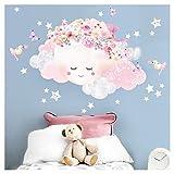 Little Deco Wandtattoo Kinderzimmer Mädchen Mond mit Schleife & Wolken I M - 28 x 20 cm (BxH) I Wandsticker Babyzimmer selbstklebend Baby Wandaufkleber Sterne Kinder DL448