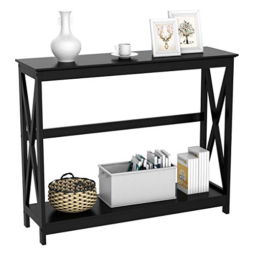 Yaheetech 2-Tier Console Tables Side/End Table with Shelf X-Design Wooden Hall Desk for Living Room/Bedroom/Hallway, 101.5x30x81.3cm (Black)