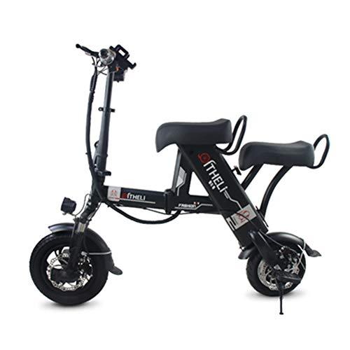 MMJC Elektrische Fat Tire Scooter, 48V 500W Adult City Mit 2-Sitzer Power Scooter, Schlüsselstart Und Power Display,Schwarz,8A