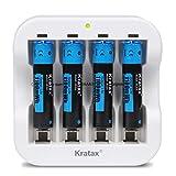 Kratax - Pilas Recargables de Litio de 1100 mWh, 1,5 V AAA (4 Baterías y 1 Cargador), Carga Rápida de 1200 Ciclos de Carga y Descarga (No Para el Flash)