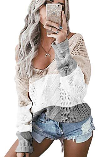 Leslady Mujer Moda Suéter Largo Casual Jersey Mangas Largas Camiseta Tops Prendas de Punto de Cuello Barco Batwing Suéter