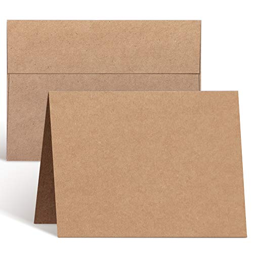 Blank Cards and Envelopes 100 Pack, Ohuhu 5 x 7 Heavyweight Kraft Paper Folded Cardstock and A7 Envelopes for DIY Valentine's Day Cards, Wedding, Birthday, Invitations, Thank You Cards & All Occasion