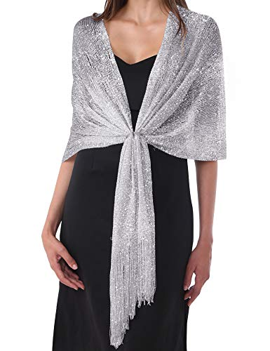 DiaryLook Womens Evening Stole Shawl For Wedding, Parties, Bridesmaid, Prom Scarf with Fringe