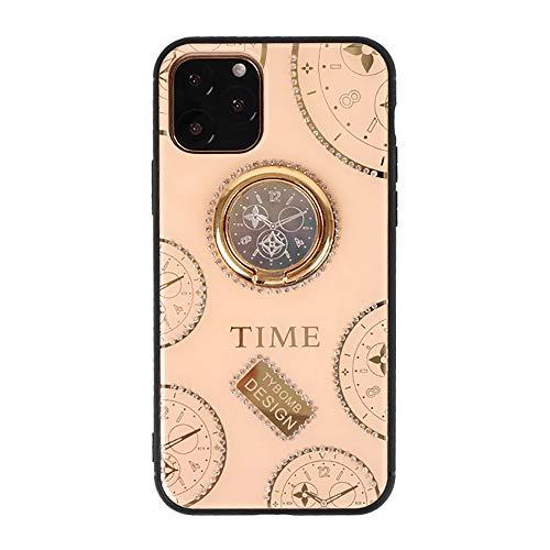 iPhone11 Pro ケース 懐中時計柄 ハンドル付き スタンド機能 アクリル 落下防止 ハードケース アイフォン11Pro case 背面保護 携帯カバー クリア 耐衝撃 個性的 創意 特別 おしゃれ 実用 海外 TIME ピンク