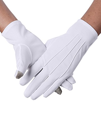 JISEN Men Formal Tuxedo Honor Guard Parade Nylon Cotton Non-slip Touchscreen Gloves