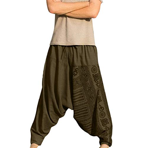 Tomatoa Haremshose Herren Sommerhose Pluderhose Pumphose Hippie Hosen Männer Jogginghose Pants Sporthosen Trainingshose Sporthose Freizeithose Hippie Wellness Yoga M - 5XL