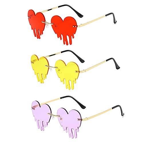Swetup 3 pares de gafas de sol con forma de corazón, divertidas gafas sin marco, creativas con corazones, lágrimas, gafas de fiesta, unisex, gafas hippie sin marco, gafas para verano, playa, fiesta