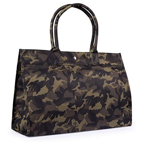 SOMEWHERE HAUTE Ladies Camouflage Vegan Tote Work Diaper Travel Carryon Bag (Green Camouflage)