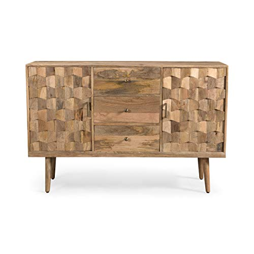 Zona Mid-Century Modern Mango Wood 3 Drawer Sideboard with 2 Doors, Natural