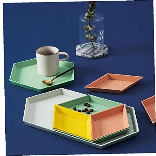 Byfri 1 Set Bandeja de Almacenamiento nórdica Estilo de Escritorio de combinación geométrica Bandeja de Frutas Snacks Placa Plato té de la Tarde vajilla Placa (Color al Azar)