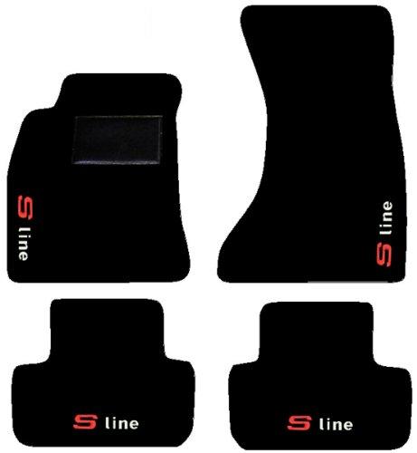 Fußmatten für Auto schwarz und Einstiegsleisten Schwarz, mit Stickerei Bianco