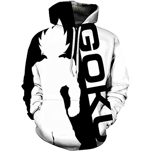 Mens Pullover Anime Dragon Ball Goku Sweater Hoodie Men Hooded Sweatshirt Unisex 3D Comfortable Tops Negro Blanco S