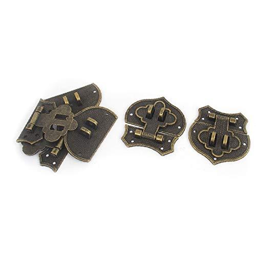 X-DREE 4 unids tono bronce estilo antiguo maleta caja de joyería caja cerrojo cerrojo de bloqueo en el pecho bisagra de bloqueo (4pcs ton bronze métal Antique style Valise Boîte bijoux cas Loquet ver