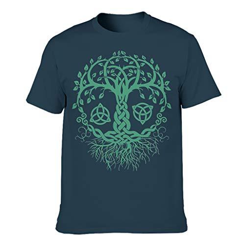 Camiseta de ocio para hombre, diseño de cuerno, vikingo, árbol de la vida, raíces, hojas, impresión cómoda, escudo