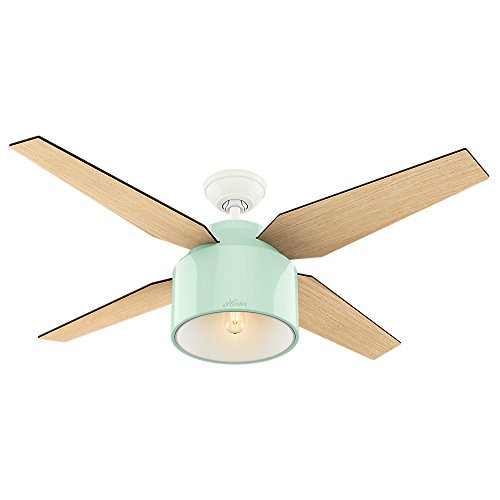 Hunter Cranbrook Indoor Ceiling Fan with LED Light and Remote Control, 52″, Green
