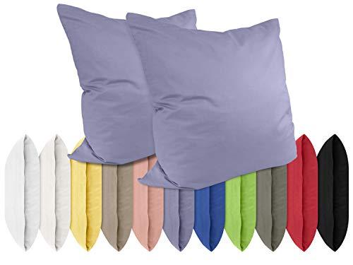 npluseins Renforcé-Kissenbezüge im Doppelpack - 100% Baumwolle – schlicht und edel im Design, in 11 Uni-Farben, 40 x 40 cm, Jeansblau