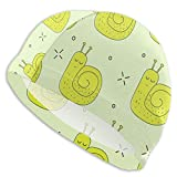 Gorro de Ducha Green Snails Lined Up One After Another Adult Swim Caps,High Elasticity, No Deformation Use,UV Protection, Waterproof Comfy Swimming Bathing Cap for Men and Women