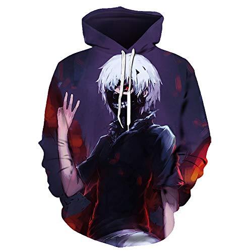 Tokyo Ghoul Men's 3D Print Hoodies Anime Ken Kaneki Cosplay Sweatshirt Pullover Hip Hop Sportswear Hoodies for Unisex Adults Youth