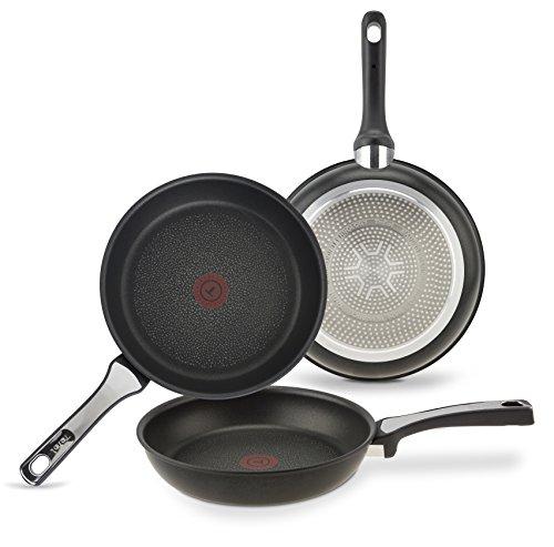 Sartenes Tefal Expertise Set de 3 Sartenes de aluminio de 21, 24 y 26 cm, antiadherente con extra de titanio, aptas para todo tipo de cocinas incluido inducción