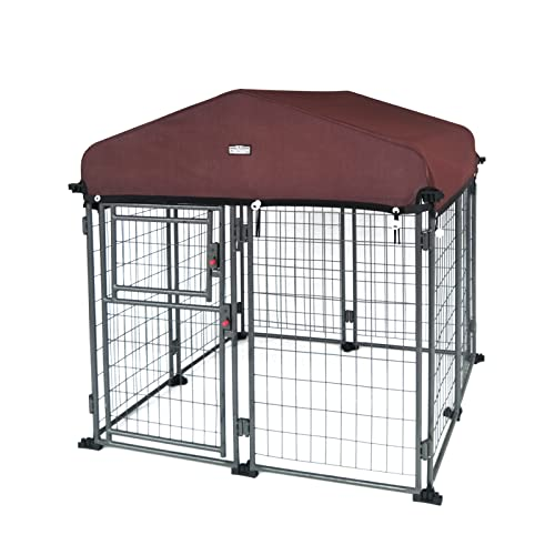 Neocraft My Pet Companion Dog Kennel with Roof Cover (4') - Weather Resistant / Covered / Heavy Duty / Outdoor / Winter Welded Wire Pet Kennel for Medium Sized Dogs - Easy to Assemble