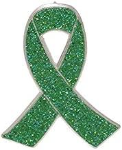 WizardPins Green Glitter Awareness Ribbon Enamel Pin Kidney Cancer Bone Marrow Transplant– 5 Pins
