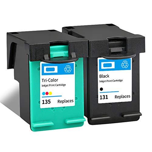 SXCD 131 135 Cartucho de Tinta, Reemplazo de Alto Rendimiento para HP DeskJet 6840 Photosmart 2610 2710 OfficeJet 100 150 PSC 1500 Impresora de inyección de Tinta Cartuch 1 Black 1 Tri-Color
