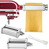 Pasta Attachment for KitchenAid Stand Mixer Included Pasta Sheet Roller, Spaghetti Cutter and Fettuccine Cutter Pasta Maker Stainless Steel Accessories 3Pcs by Gvode