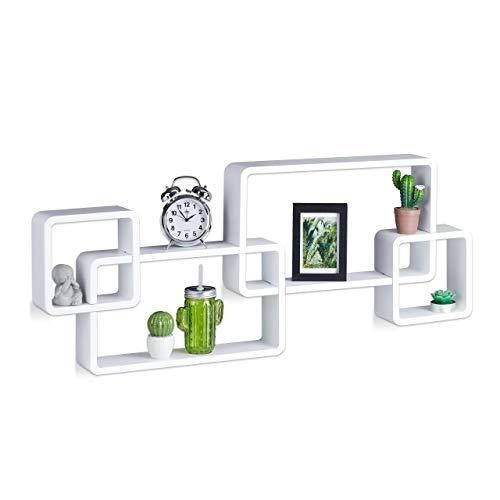 Relaxdays Wandregal Cube, Freischwebend, Modernes Design, Dekorativ, Steckbar, 4 Würfel, MDF, HxBxT: 42x104x10cm, Weiß