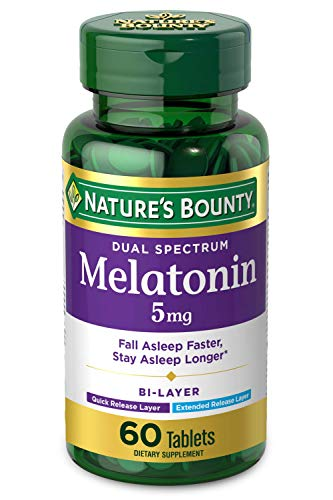 Melatonin by Nature's Bounty, 100% Drug Free Quick Release and Extended Release Sleep Aid, Dietary Supplement, Promotes Relaxation and Sleep Health, 5mg, 60 Bi-Layer Tablets