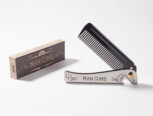 DAFT® 'Orginal Black' Man Comb, faltbarer Taschenkamm aus Metall für Männer mit Bart, Herren-Klappkamm, mit Griff, das ultimative Utensil für Haare, Bart und Bier, (schwarz)