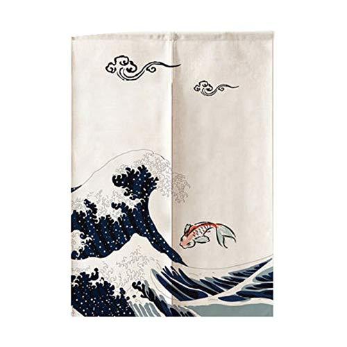 Maya Star Cortina opaca japonesa Noren para puerta de cocina, 85 x 150 cm (olas del océano)