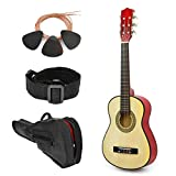 Left Handed Natural Wood Guitar with Case and Accessories for Boys Girls Teens Beginner 38' (Natural)