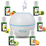 Simply Diffusers Long Running Aromatherapy Diffuser with Oils Bundle GIFT SET includes 6 x 100% Pure Essential Oils, LED Lights, Timer, 165ML Water Tank, Auto Shut Off, BPA Free in Color White