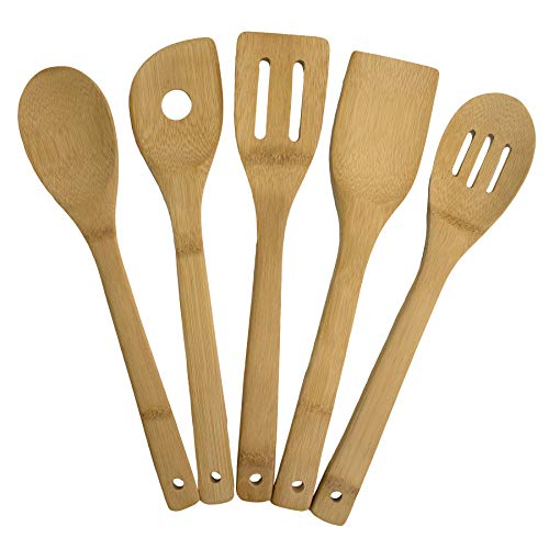 Totally Bamboo 5-Piece Cooking Utensil Set, Solid Bamboo cooking tools, each 12' Long