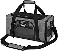 wakytu Airline Approved Pet Carrier for Small Cats and Dogs | TSA Dog Carrier with Adequate Ventilation | 4 Mesh Windows, 3 Entrance, Locking Safety Zippers, Padded Shoulder and Carrying Strap