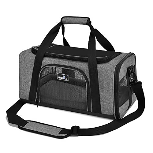 wakytu Airline Approved Pet Carrier for Small Cats and Dogs   TSA Dog Carrier with Adequate Ventilation   4 Mesh Windows, 3 Entrance, Locking Safety Zippers, Padded Shoulder and Carrying Strap