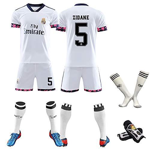 RVRE Sportkleidung für Erwachsene Kinder, Hazard Nr. 7, Zidane Nr. 5, Spaniens Fußballanzüge für Jungen der Saison 20-21-white5-M