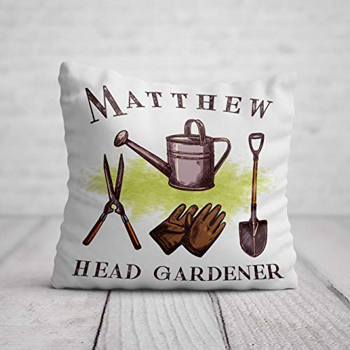 Head Gardener Cushion - Personalised Gardening Birthday Gift - Home Decor for Garden Shed Allotment 40 x 40cm / 16 x 16in